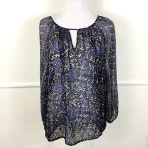 Lucky Brand Sheer Keyhole Long Sleeve Top Women 2X